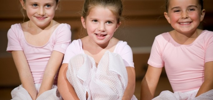 Young ballerinas during a lesson